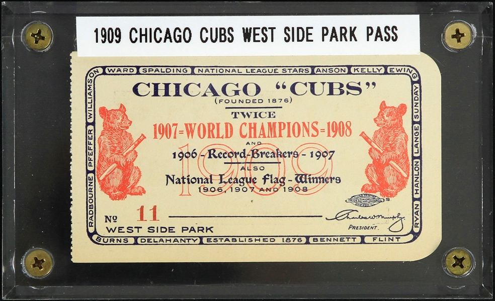 1909 Chicago Cubs West Side Park Stadium Season Ticket Pass