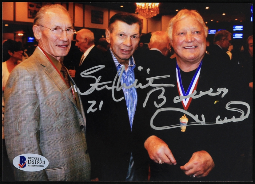 "2000s Bobby Hull Stan Mikita Pierre Pilote Chicago Blackhawks Signed 5"" x 7"" Photo (Beckett Authentication)"
