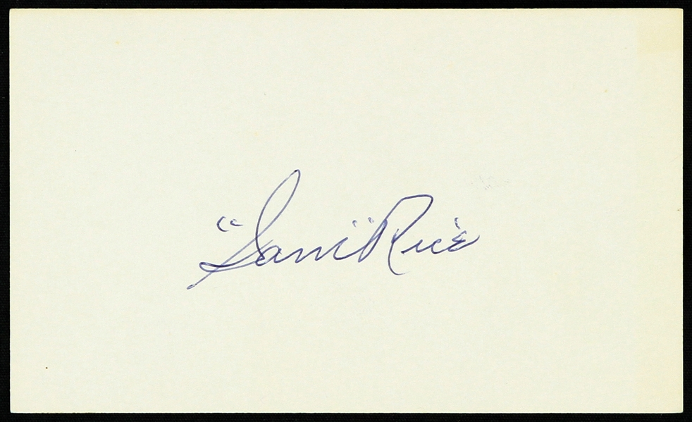 "1950s Sam Rice Washington Senators Signed 3"" x 5"" Index Card (JSA)"
