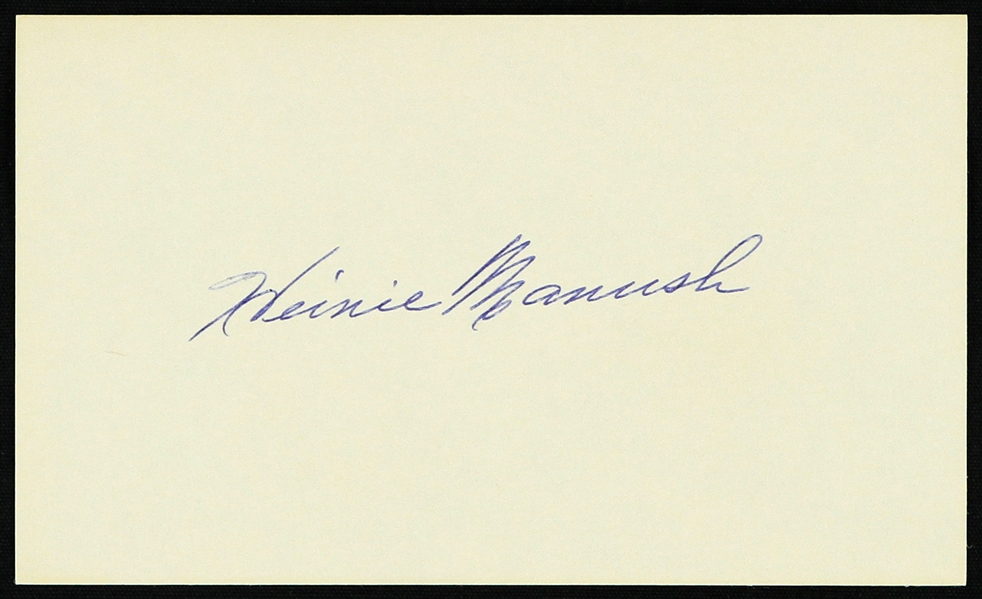 "1950s Heinie Manush Washington Senators Signed 3"" x 5"" Index Card (JSA)"