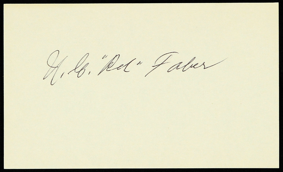 "1950s Red Faber Chicago White Sox Signed 3"" x 5"" Index Card (JSA)"