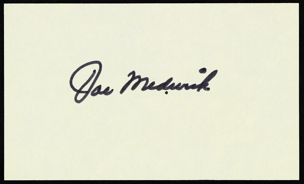 "1950s Joe Medwick St. Louis Cardinals Signed 3"" x 5"" Index Card (JSA)"