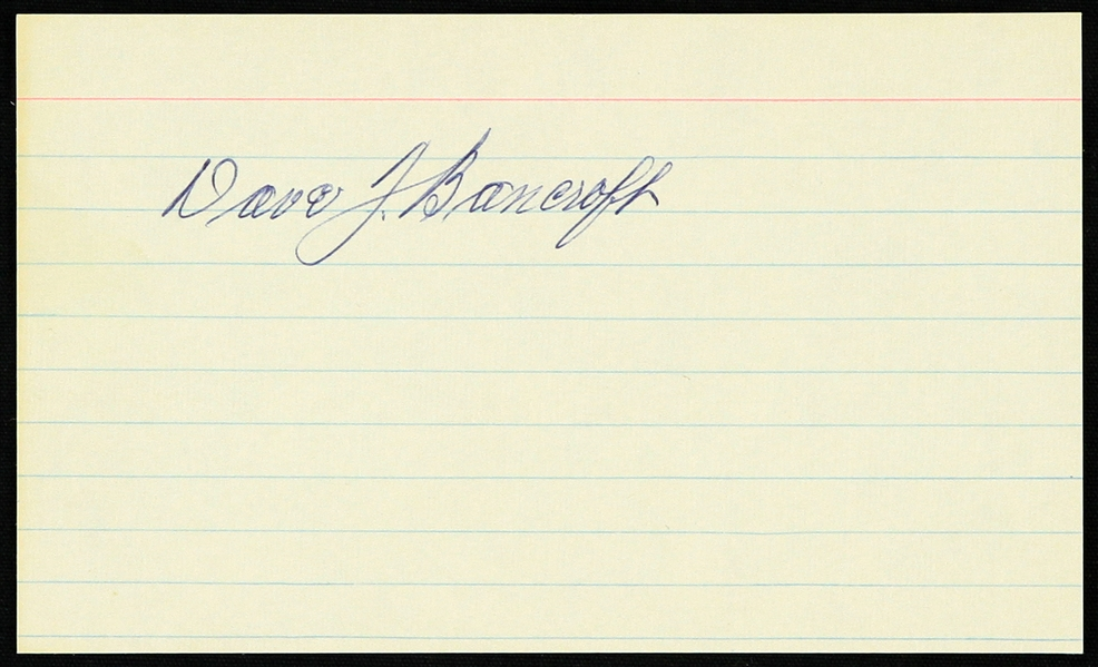 "1950s Dave Bancroft New York Giants Signed 3"" x 5"" Index Card (JSA)"