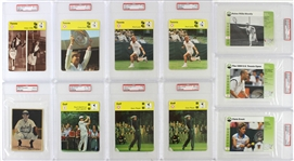 1963-2000 Tennis Golf Baseball PSA Slabbed Oversize Trading Cards - Lot of 11 w/ Mickey Cochrane, Chris Evert, Rod Laver, Gary Player & More