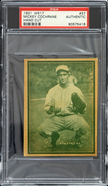1931 Mickey Cochrane Philadelphia Athletics Hand Cut W517 #37 Trading Card (PSA Slabbed)