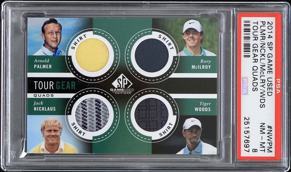 2014 Tiger Woods Arnold Palmer Jack Nicklaus Rory McIlroy SP Game Used Trading Card (PSA Slabbed NM-MT 8)