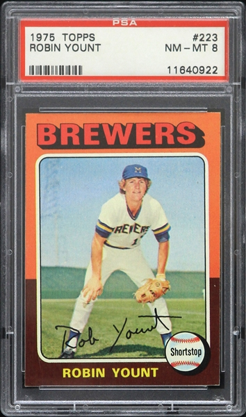 1975 Robin Yount Milwaukee Brewers Topps #223 Rookie Trading Card (PSA Slabbed NM-MT 8)