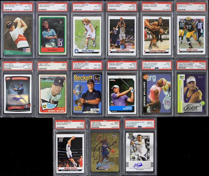 1965-2018 Baseball Football Basketball Golf Tennis PSA Slabbed Trading Cards - Lot of 15 w/ 4 Signed Including Ryan Braun, Joe Dumars & More
