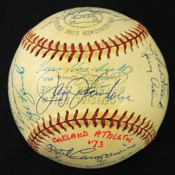 1973 World Series Champion Oakland Athletics Team Signed OAL Cronin Baseball w/ 27 Signatures Including Reggie Jackson, Catfish Hunter, Rollie Fingers, Vida Blue & More (JSA)