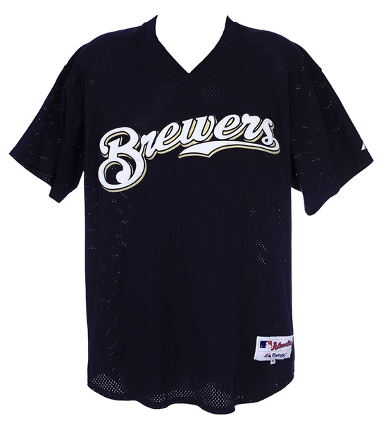 2002 Nick Neugebauer Milwaukee Brewers Signed Batting Practice Jersey (MEARS LOA/JSA/Team Letter)