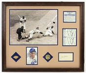 "1953 Jackie Robinson Brooklyn Dodgers 23"" x 27"" Framed Display w/ Game Used Bat Piece, Signed Cut & More (PSA/DNA & Highland Mint)"