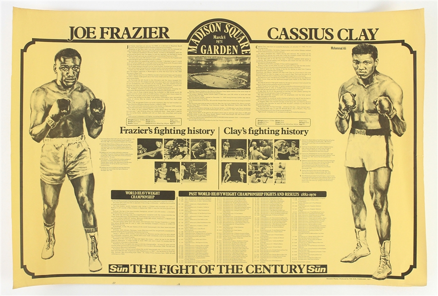 "1971 (March 8) Joe Frazier Muhammad Ali Heavyweight Title Fight 20"" x 30"" The Sun Fight of the Century Poster"