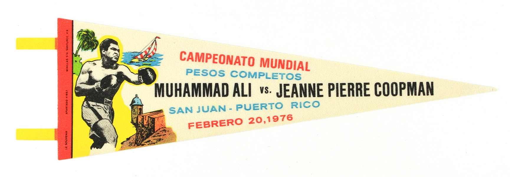"1976 (February 20) Muhammad Ali Jeanne Pierre Coopman Spanish Language 25"" Heavyweight Title Fight Pennant"