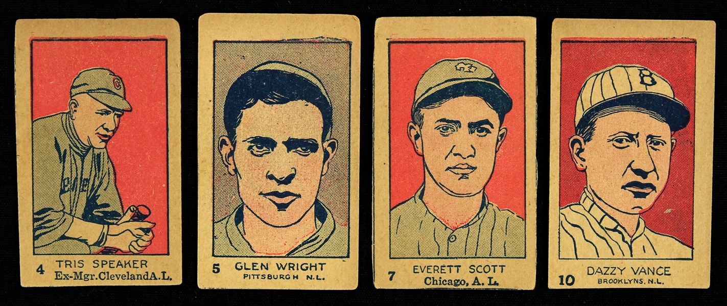 1926 Tris Speaker Dazzy Vance Glen Wright Everett Scott W512 Trading Cards - Lot of 4