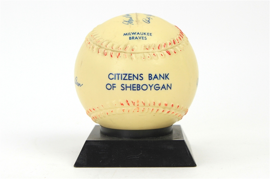 1956-59 Milwaukee Braves Facsimile Signed Citizens Bank of Sheboygan Baseball Coin Bank