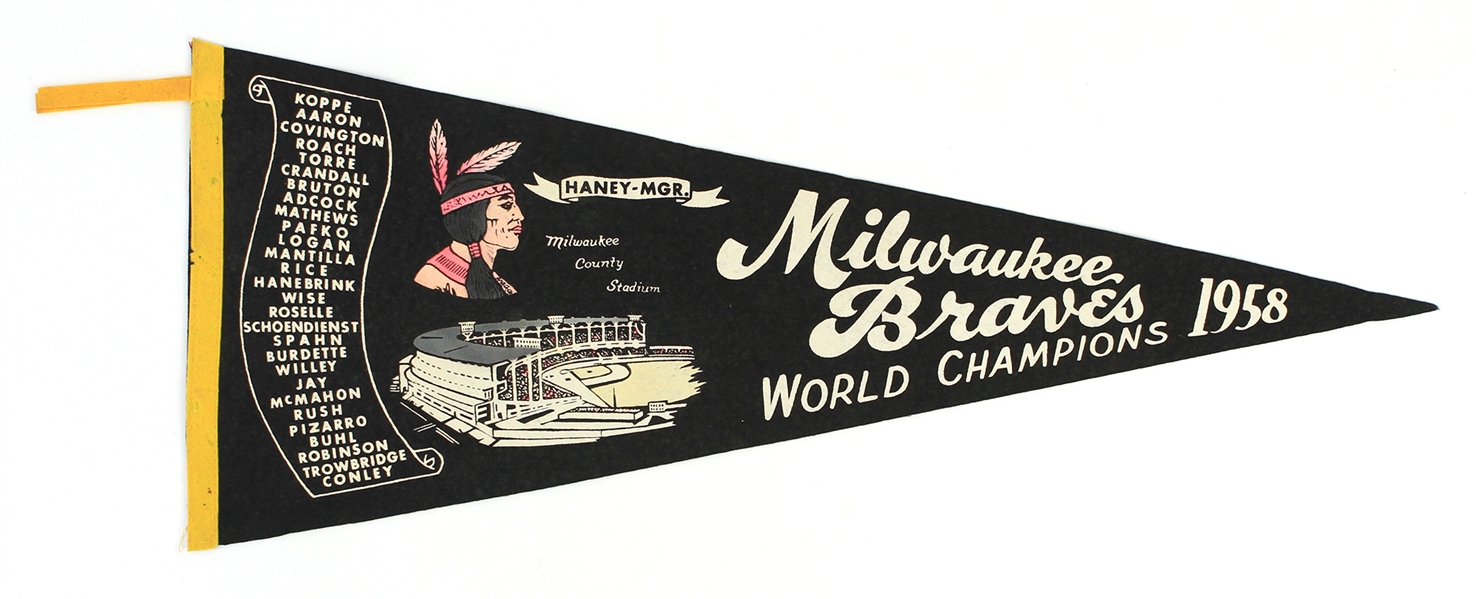 "1958 Milwaukee Braves World Champions 29"" Pennant"