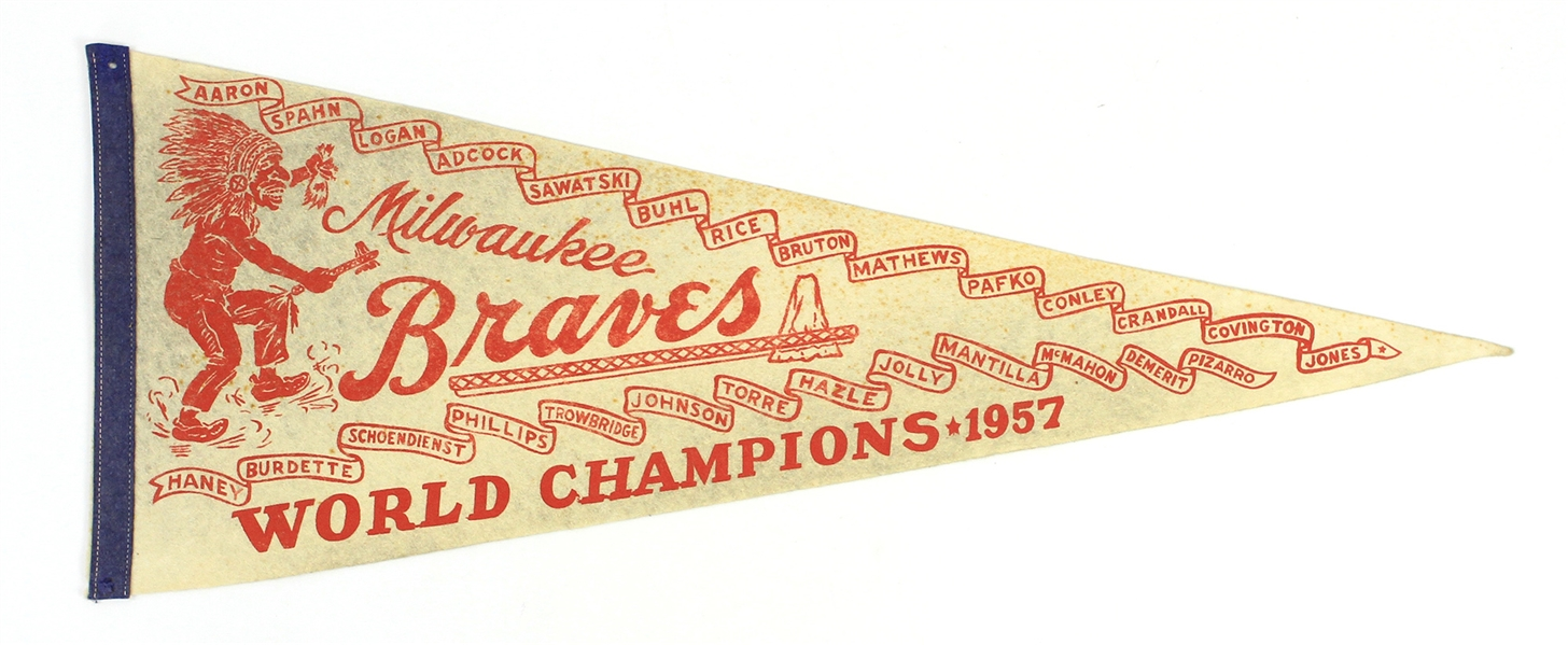 "1957 Milwaukee Braves World Champions 29"" Pennant"