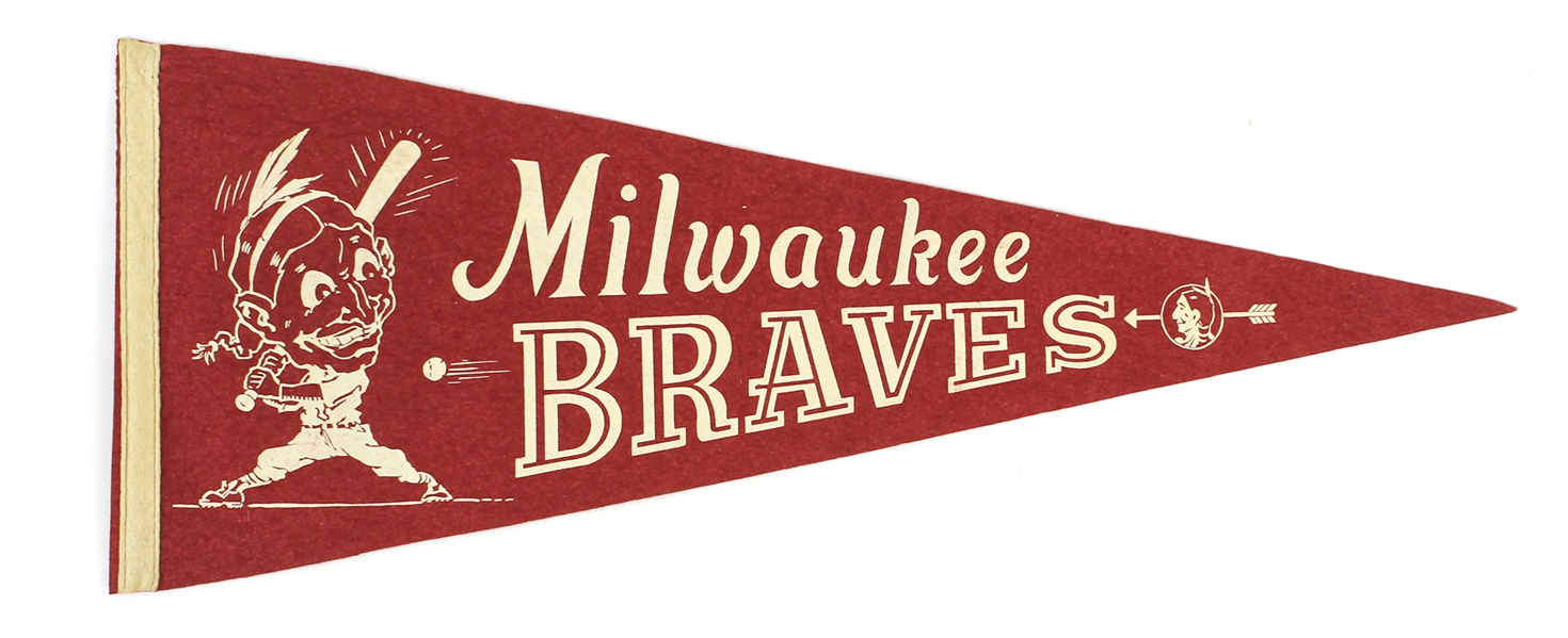 "1950s Milwaukee Braves 29"" Pennant"