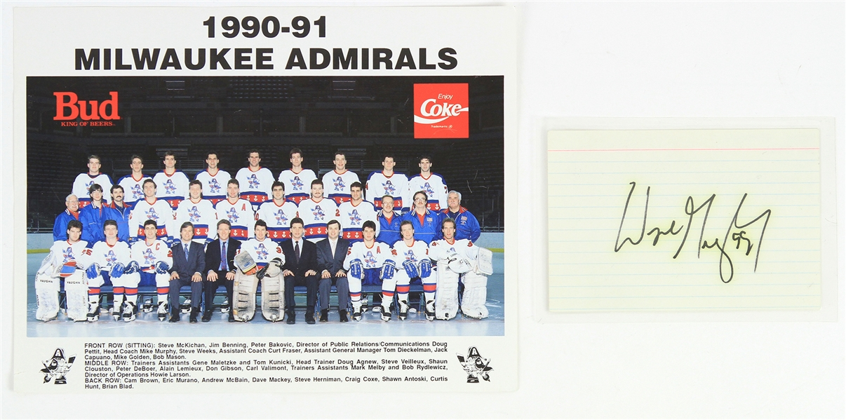 1989 Wayne Gretzky Los Angeles Kings Signed 3x5 Index Card w/ Admirals Photo (JSA)