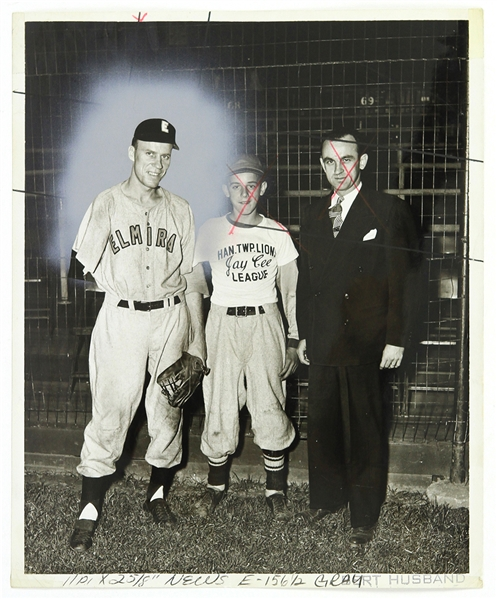 1948 Pete Gray Elmira Pioneers 8x10 B&W Photo