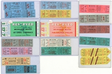 1953-1965 Milwaukee Braves Full Tickets (Lot of 18)
