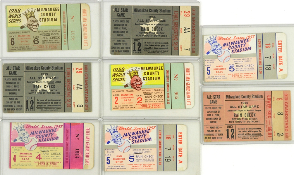 1955-1958 Milwaukee Braves Ticket Stubs (Lot of 8)