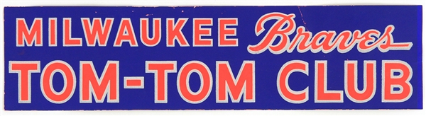 "1950s Milwaukee Braves Tom-Tom Club 15"" Bumper Sticker"