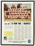 "1953 Milwaukee Braves 18"" x 24"" Pabst Blue Ribbon ""Lets All Be For The Braves"" Team Photo Poster"