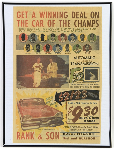 "1957 Milwaukee Braves 18"" x 24"" Framed Rank & Son ""Get A Winning Deal On The Car Of Champs"" Newspaper Ad"