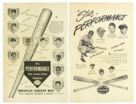 "1948-53 Louisville Slugger 11"" x 17"" Advertising Broadsides - Lot of 2"