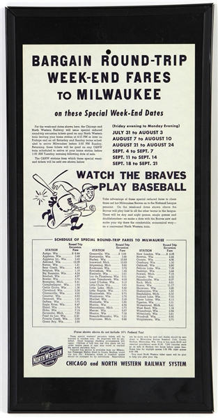 "1953 Milwaukee Braves 10"" x 20"" Framed Chicago & North Western Railway System Weekend Fare Broadside"