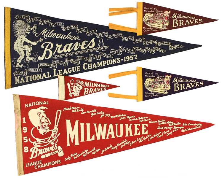 1950s Milwaukee Braves Pennants (Lot of 7)