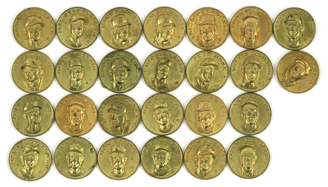 1969 Citgo Baseball Centennial Series Coins - Lot of 27 w/ Hank Aaron, Pete Rose, Willie McCovey, Richie Allen & More