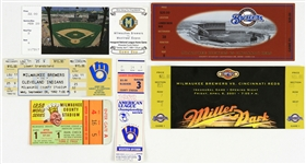 1958-2001 Milwauke Braves & Brewers Full Ticket & Stub Collection - Lot of 6 w/ 1958 World Series, 1982 ALCS, Robin Yount 3000th Hit & More