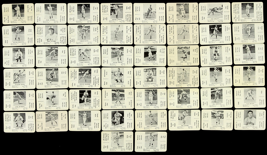 1936 S & S Game Baseball Card Deck - Lot of 106 Cards w/ Mel Ott, Jimmy Foxx, Carl Hubbell, Pie Traynor & More