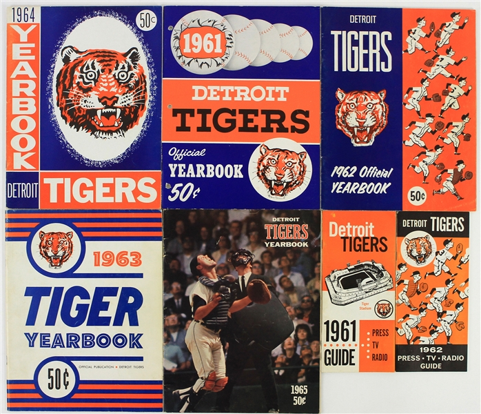 1961-65 Detroit Tigers Team Yearbook & Press TV Radio Guides - Lot of 7