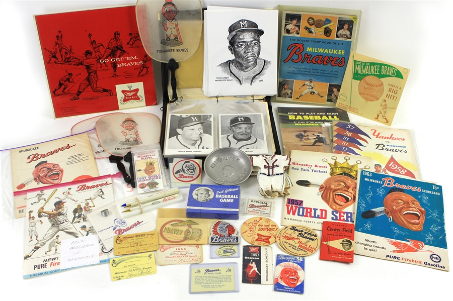 1950s-2000s Milwaukee Braves Memorabilia Collection - Lot of 125 w/ World Series Programs, World Series Player Photos & More