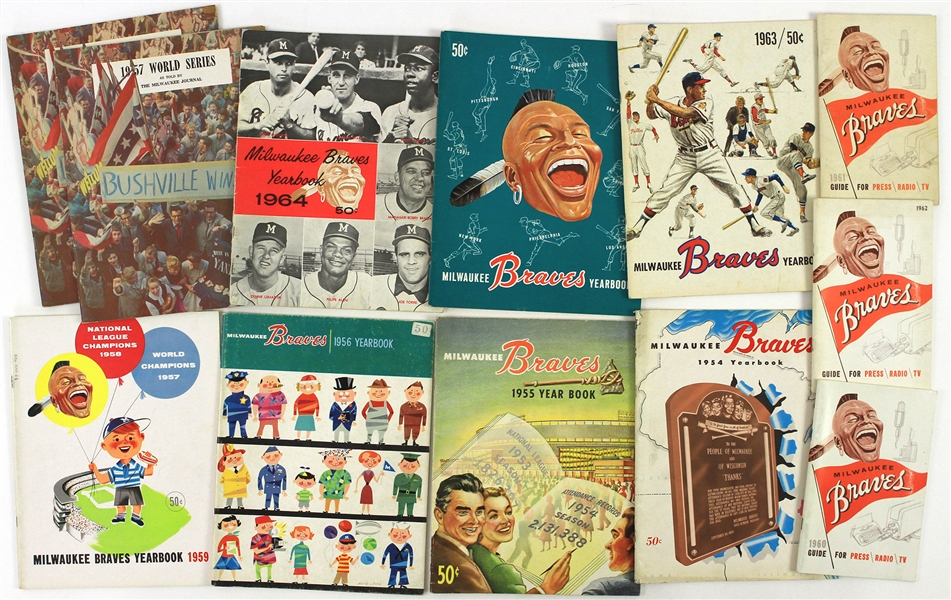1953-65 Milwaukee Braves Yearbook Scorecard Press Radio TV Guide Collection - Lot of 34