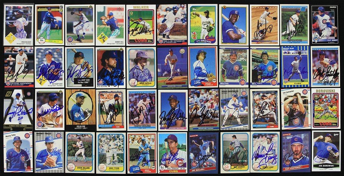 1970s-2000s Chicago Cubs Signed Trading Card Collection - Lot of 200 w/ Andre Dawson, Mark Grace, Don Zimmer, Rick Sutcliffe & More