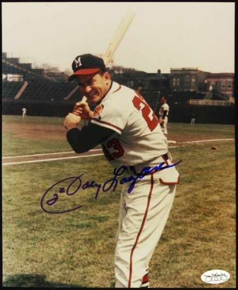 1953-61 Johnny Logan Milwaukee Braves Signed 8 x 10 Color Photo *JSA*