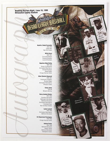 "1998 Negro League Baseball Breaking Barriers Night 8.5"" x 11"" Autograph Card"
