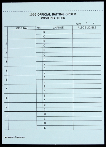 "1992 Milwaukee Brewers County Stadium 6""x8"" Unused Dug Out Lineup Card"