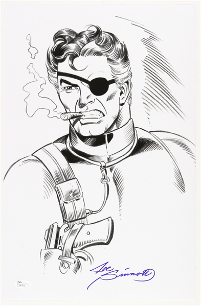 1980s Joe Sinnott Nick Fury Torso Pencil Commission Sketch Signed 11x17 Print (JSA)