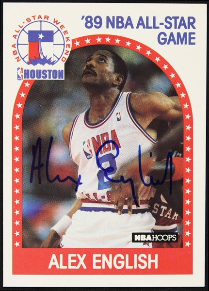 1989 Alex English Denver Nuggets NBA Hoops All-Star Game Signed Trading Card (JSA)