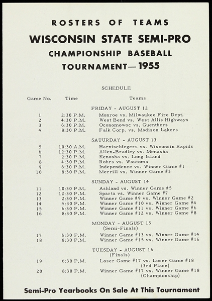 1955 Wisconsin State Semi-Pro Championship Baseball Tournament Team Roster