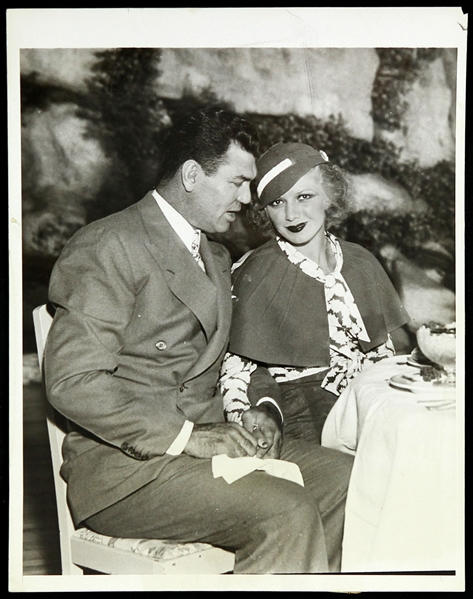 "1933 Jack Dempsey w/ Wife Hannah Williams Original 7""x 9"" Photo"