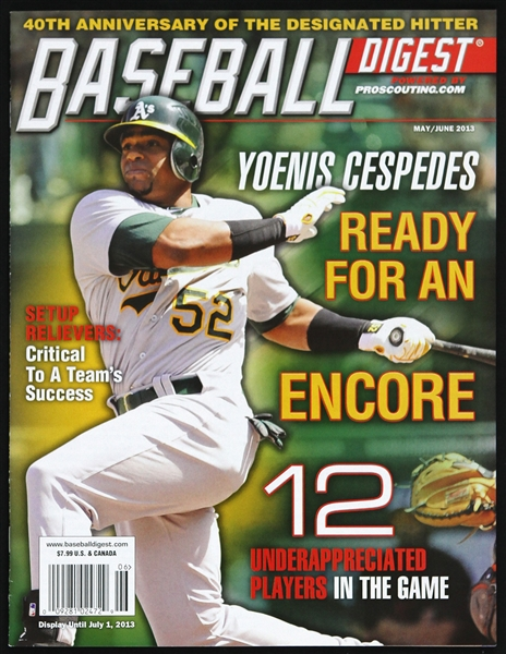 2013 Yoenis Cespedes Oakland As Baseball Digest