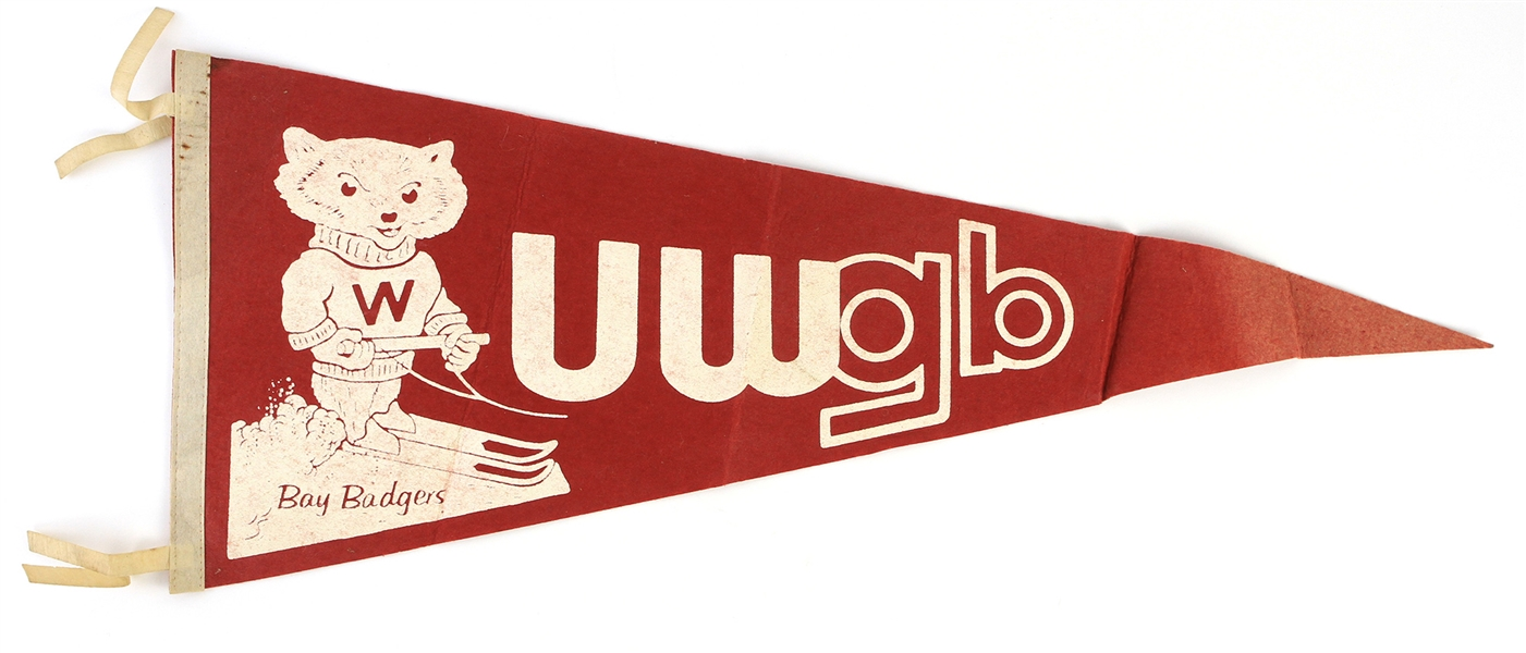 "1960s UW Green Bay Bay Badgers Full Size 29"" Pennant"