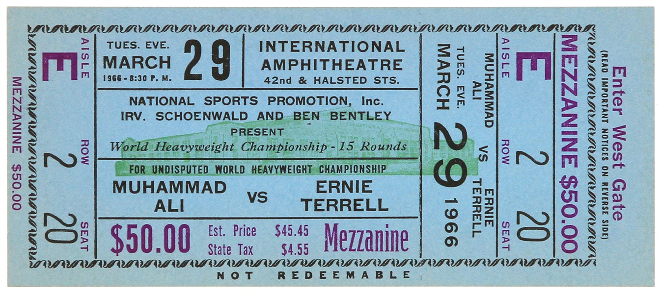 1966 (March 29) Muhammad Ali Ernie Terrell Heavyweight Title Fight Ghost Ticket
