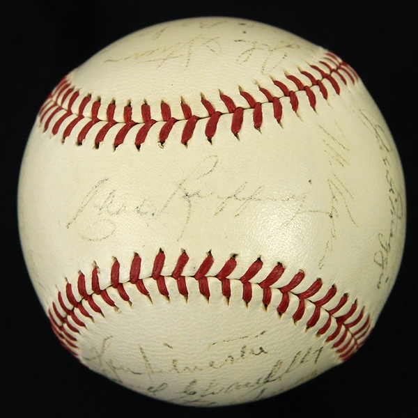 1941 New York Yankees World Series Champions Team Signed OAL Harridge Baseball w/ 23 Signatures Including Joe DiMaggio (Clubhouse), Red Ruffing & More (JSA)